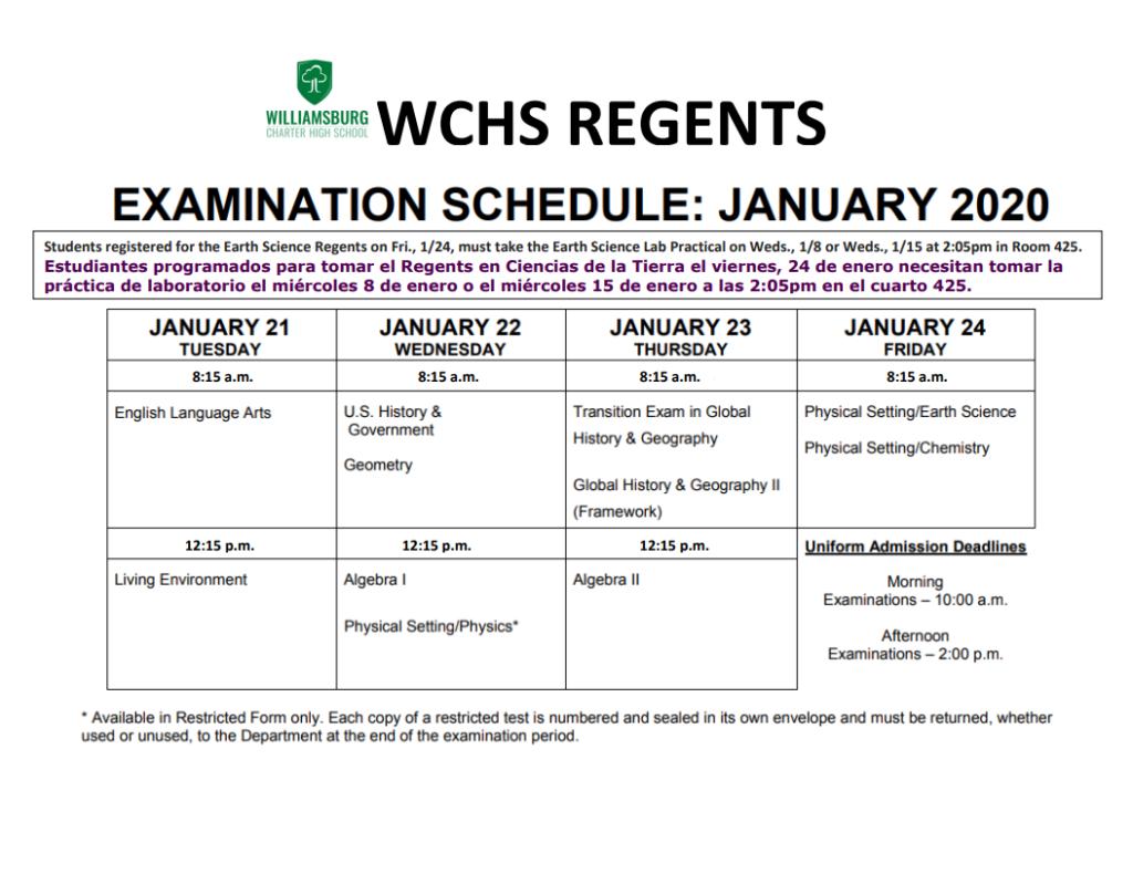 Regents Schedule - WCHS