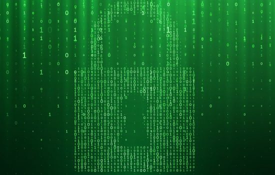 Cyber security access lock on binary matrix green background. Vector internet online data protection or information privacy hacker attack protection